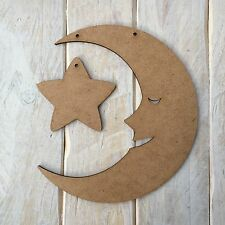 MDF Wood Moon & Star Shape Plaque Blank Make Your Own Plaque Craft Shape