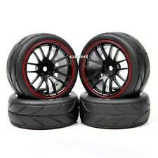 4X Rubber Tires Wheel Rim For HSP HPI RC 1/10  On-Road Racing Car 12mm Hex