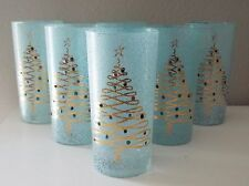 Six Retro 60s Gold Accented CHRISTMAS TREE Jeweled & Spatter MCM Glass Tumblers