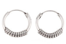 New 925 Sterling Silver 12mm Flat Wire Tribal Bali Hoop Earring EP818