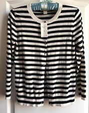 NEW Banana Republic women's Anna black and white silk blend cardigan Small S