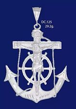 Sterling Silver .925 Large Heavy Anchor Cross with Jesus 29g. FREE Small Anchor