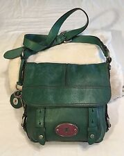 Fossil Maddox Turquoise Teal Blue Green Leather Flap Crossbody Messenger Purse