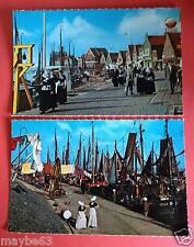VOLENDAM Holland / The Netherlands 60s vintage postcard Dutch fishing boats port