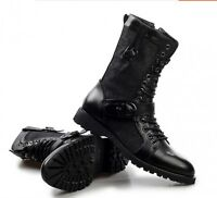 Mens fashion British style high top lace up shoes mid calf round toe boots size