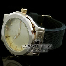 MEN'S NEW YELLOW WATER RESISTANT DRESS STYLE WRIST QUARTZ WATCH W/ RUBBER BAND