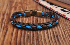 NG205 Brown Surfer Handmade Hemp Leather Braided Mens Wristband Bracelet Cuff