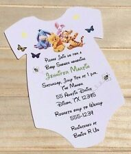 Winnie The Pooh Baby Shower Oneise Invitation Printed on Matte Paper