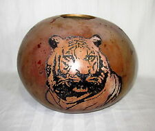 LARGE GOURD CARVED TIGER THEME HAND MADE NEW