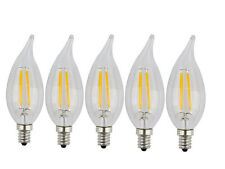 Energy Saving Flame Tip 4 Watt Dimmable E12 Filament LED Candelabra Bulb 5 Pack