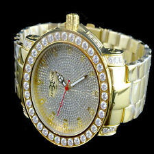 REAL DIAMOND SOLID STAINLESS STEEL MEN GOLD FINISH ICED OUT KHRONOS JOJINO WATCH