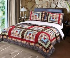 COLORADO LODGE * King * QUILT SET : RUSTIC CABIN MOUNTAIN RED COMFORTER