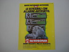 advertising Pubblicità 1986 AUTORADIO AUTOSONIC ASK 051/041/031