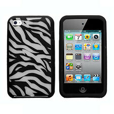 For Apple iPod Touch 4 Rubber Soft Gel Silicone Skin Case Phone Cover Zebra