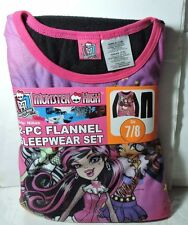 Newest New Girls MONSTER HIGH Flannel Pajamas 2 piece Sleep wear Set Size 7/8