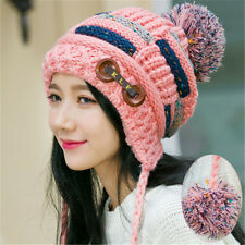 Womens Winter Braided Crochet Wool Knit Hat Girl Beret Ski Beanie Ball Cap Pink