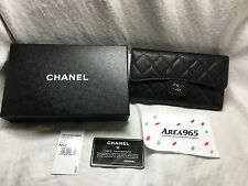 Chanel Wallet Black Flap Quilted luxury caviar leather classic silver New box