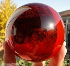 80mm + Stand huge Rare Natural Quartz Red Magic Crystal Healing Ball Sphere##