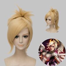 Overwatch Angela Ziegler Cosplay Wig 30cm Short Straight OW Mercy Ponytail Blond