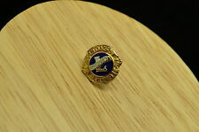 10K YELLOW GOLD LIONS CLUB PRESIDENTS LAPEL PIN TIE TACK WITH BLUE ENAMEL