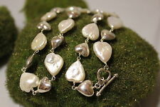 Sterling Silver 925 Hand Crafted Heart Pearl Necklace 18 inches Toogle Clasp