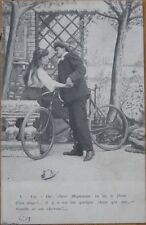 1904 French Postcard: Man with a Bicycle Courting a Woman