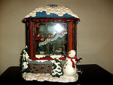 Christmas Santa snow music Box lights up Big one 11 Tall 8 Wide 6 Thick Nice