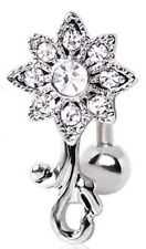 Belly Button Ring Navel 14g  Gemmed Flower Top Down Navel Ring