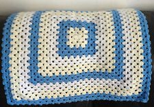 Handmade Crochet  Baby Blanket/Throw - New - Blue-Cream-White