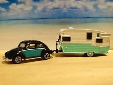 Matchbox 1962 VW Beetle & Shasta Camper 1:64 Scale Diecast Diorama Vacation Set