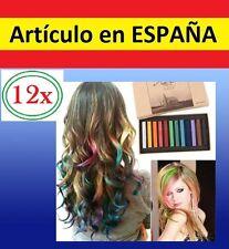 12 TIZAS COLORES pintar el PELO no toxicas pastel colorear color cabello lavable