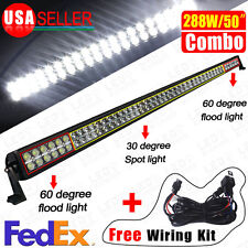 288W 50inch Combo Offroad Work LED Light Bar Driving DRL Lamp SUV 4WD Boat Truck