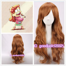 Mabel Pines cosplay wig Gravity Falls long wavy curly brown cos wig +a wig cap