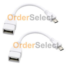 2 White USB Micro B to A M/F Adapter OTG Cable for LG G4/G4 Mini/HTC One M9