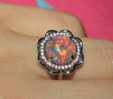 fire opal Cz ring gems silver jewelry Sz 6 6.5 Flower cocktail engagement band