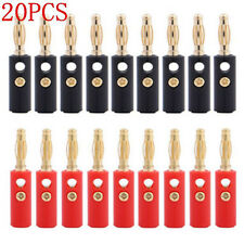 20xProtable Audio Speaker Wire Cable Gold Plated Banana Plug Connector Adapters