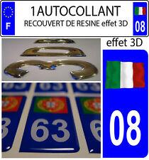 1 sticker plaque immatriculation auto DOMING 3D RESINE DRAPEAU ITALIE FLOTANT 08
