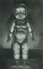 "Fine Original Charcoal Drawing ""Baby Doll"" Signed Ehrlich Kansas Artist"