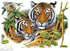 Two Tiger HEAT PRESS TRANSFER for T Shirt Tote Bag Sweatshirt Quilt Fabric 291j