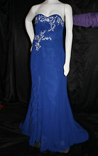 DESIGNER CUSTOM BLUE GOWN FORMAL DRESS SIZE 8 10  EMBROIDERY PEARLS PROM WEDDING