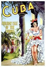 Cuba Poster, Holiday Isle of the Tropics, Caribbean, Vintage Travel Poster
