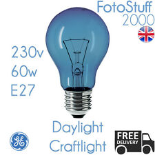 60w E27 Daylight Craftlight GLS Blue Filter Bulb GE 230v | SAD Therapy | Crafts