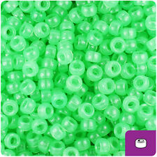 1000 Green Glow 7mm Mini Barrel Plastic Pony Beads Made in the USA