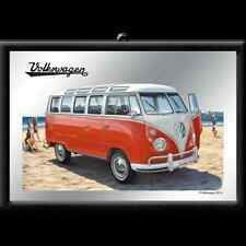 Quadro Vintage in Vetro VW Bulli - Samba Bus Beach Mis. 20 x 30 Wow!