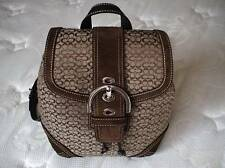 COACH SOHO SILVER BUCKLE SM SIG C SUEDE BROWN LEATHER TRIM BACKPACK PURSE BAG