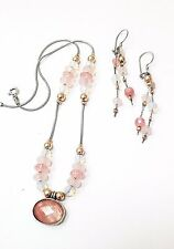 Sterling Silver 925 Crystals Necklace Earrings Set G.R.A.S. Gold Accents Rose