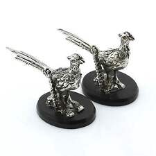 Pair Very Fine Quality Vintage Solid Italian 800 Silver Pheasant Menu Holders