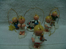 VNTG LOT OF 6 WOODEN CHRISTMAS ORNAMENTS ANGELS FIGURES & MORE FREE SHIPPING