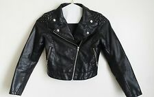 H&M Black Faux Leather Motorcycle Jacket Size Small With Studs and Zippers
