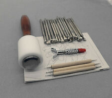 20-Piece hammer embossing tools set manual leather carving stamp Beveler craft